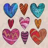 Set of watercolor hearts — Stock Vector