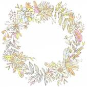 Gorgeous wreath woven from petals and flowers. — Stock Vector