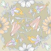 Beautiful elegant floral pattern  in pastel colors — Stock Vector