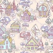 Seamless winter village pattern. — ストックベクタ