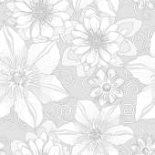 Seamless pattern of botanical flowers and petals. — Stock Vector