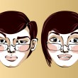 Illustration of different facial expressions woman with glasses — Stock Vector #69318667