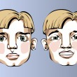 Illustration of different facial expressions of a man with blond hair. — Stock Vector #69319279