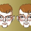 Illustration of different facial expressions of a man with red hair and glasses with a beard. — Stock Vector #69319469