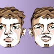 Illustration of different facial expressions of a man with a small beard. — Stock Vector #69319501