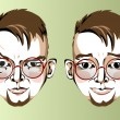 Illustration of different facial expressions of a man with brown hair, round glasses — Stock Vector #69319967