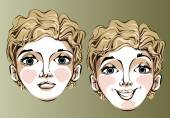 Illustration of different facial expressions of a woman blond hair. — Stock Vector