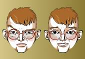 Illustration of different facial expressions of a man with red hair and glasses with a beard. — ストックベクタ