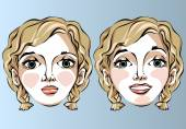 Illustration of different facial expressions of a woman with blond hair. — Stock Vector