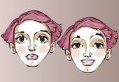 Illustration of different facial expressions of a woman with pink hair. — Stock Vector