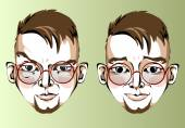 Illustration of different facial expressions of a man with brown hair, round glasses — Stock Vector