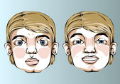 Illustration of different facial expressions of a man with blond hair. — Stock Vector