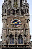 Close-up look of rathaus tower and clock in Munich, Germany — Stock Photo