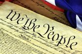 Historical Document US Constitution - We The People with American Flag — Stock Photo