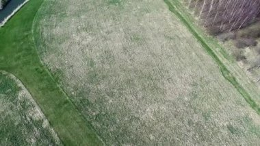 Aerial agriculture farm field landscape — Stockvideo