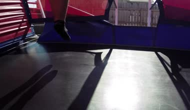 Jumping gym trampoline bouncy — Stock Video