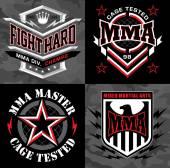MMA mixed martial arts emblem badges — Stock Vector