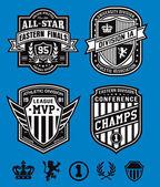 Athletic shield crest emblem set — Stock Vector