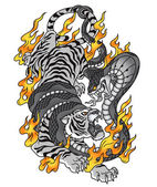 Тигр Кобра огонь татуировка рисунок — Cтоковый вектор