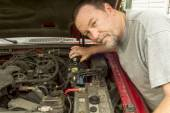 Mechanic Pouring Brake Fluis In A Master Cylinder — Stock Photo