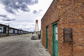 Rusty Old Speed Limit Sign In Warehouse District — Stock Photo