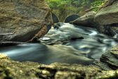Closeup of Water Stream Moving Through Rocks — Stock Photo