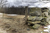 Stone Wall In Field On Winter Day — Stock Photo