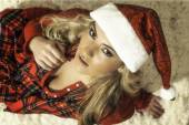 Pretty Blonde Girl In Christmas Red Robe & Santa Hat — Stockfoto