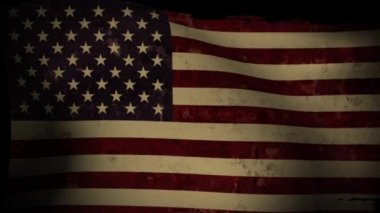 USA Flag Waving, old, grunge look, background — Stock Video