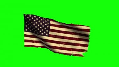 USA Flag Waving, old, grunge look, green screen — Stock Video