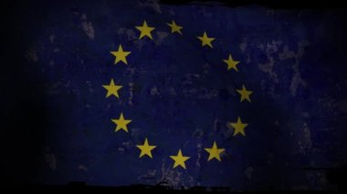 EU Flag Waving, old, grunge look background sunset — Stock Video