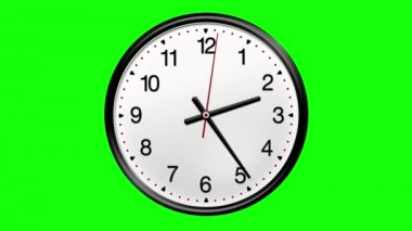 Large round clock counting down 12 hours over 30 seconds. Green screen — ストックビデオ