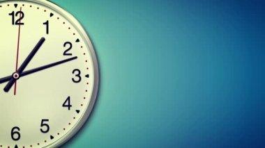 Velké kulaté hodiny odpočítávání do 6 hodin po dobu 30 s. Časová prodleva. Světle modré pozadí — Stock video