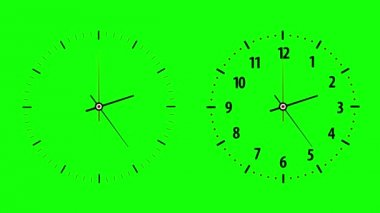 Two clock counting down 12 hours over 30 seconds. Time lapse. Green screen — Stock Video