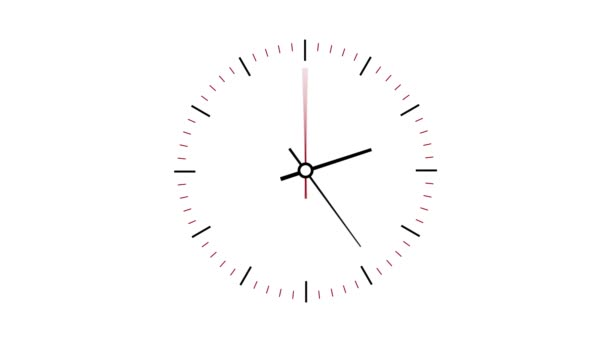 Clock counting down 12 hours over 30 seconds. Time lapse. White background — Vídeo de stock