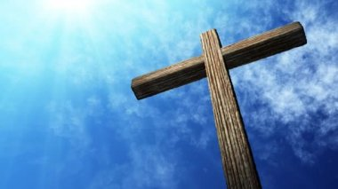 Calvary cross of christ and blue sky. Easter background — Stock Video