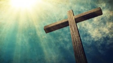 Calvary cross of christ and blue sky. Vintage, grunge background. Easter — Wideo stockowe