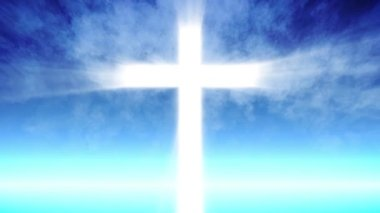 Cross of Christ ray beams and blue sky background — Stock Video