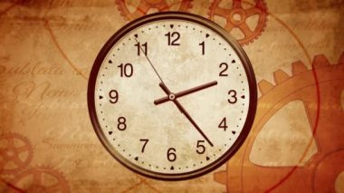 Ancient clock background. Passing time on old clock. Back to History — Stock Video