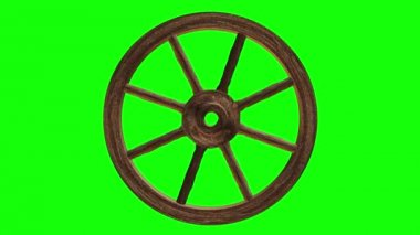 Cart wheel on a green background — Stock Video