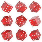 Set red glass dice — Stock Photo