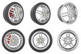 Set of car wheels, discs — Stock Photo