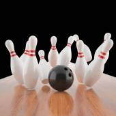 Illustration of a ball hitting the pins — Stock Photo