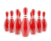 Red bowling pins with white stripes — Stock Photo