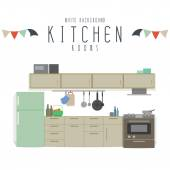 Kitchen (White Background) — Stockvektor