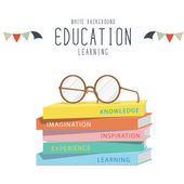 Eyeglasses on top stack books. — Stock Vector