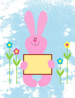 Stock Vector Illustration: illustration of a Pink bunny holding an empty sign