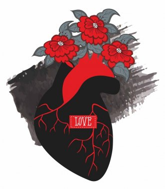 Silhouette of human heart with flowers on a background of watercolor smear