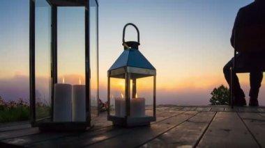 Business man look sunrise on terrace — Stockvideo