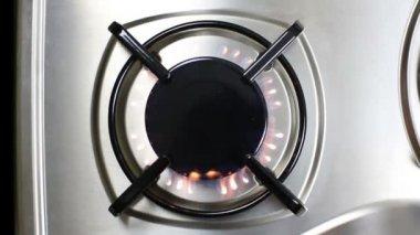Gas burner flame — Stock Video